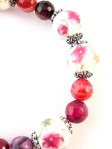 Urban_hippie_flower_floral_bead_agate_red_pink_striped_stretch_bracelet_modelimage2