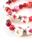 Urban_hippie_flower_floral_bead_agate_red_pink_striped_stretch_bracelet_modelimage3