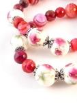 Urban_hippie_flower_floral_bead_agate_red_pink_striped_stretch_bracelet_modelimage3