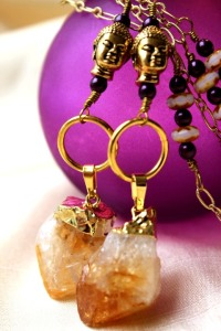 urban hippie-j022-citrine-necklace-buddha-on purple bottle-close up-2 sets-image 5